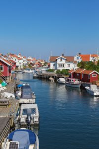 Channel for boats through a fishing village in sweden